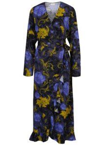 Tmavosivé kvetované zavinovacie šaty Selected Femme Sonja