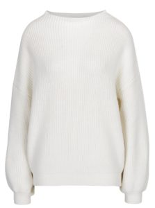 Krémový zimný sveter s balónovými rukávmi Selected Femme Festa