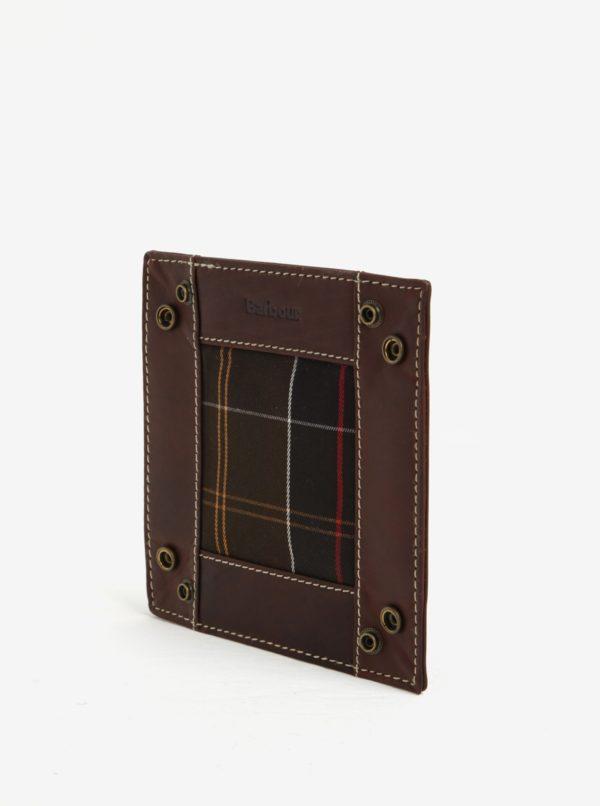 Hnedá pánska kožená cestovná tácka na drobnosti Barbour Tartan