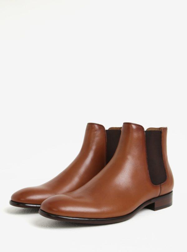 Hnedé pánske kožené chelsea topánky ALDO Aradowen