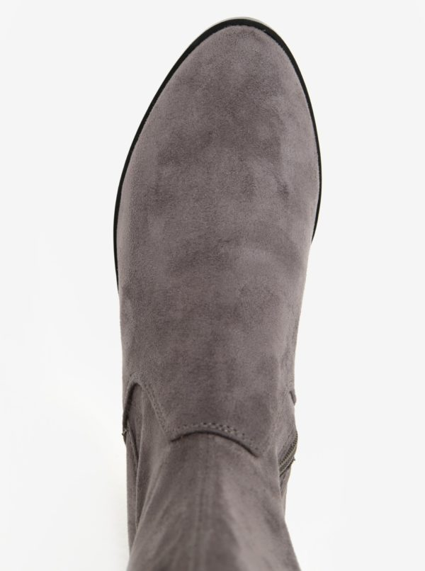 Sivé vysoké čižmy v semišovej úprave ALDO Elinna