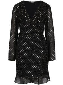 Čierne zavinovacie šaty s bodkami VILA Goldina
