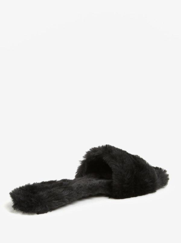 Čierne dámske šľapky s umelým kožúškom ALDO Fofa