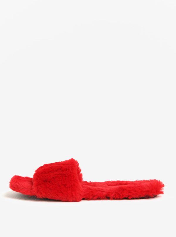 Červené dámske šľapky s umelým kožúškom ALDO Fofa