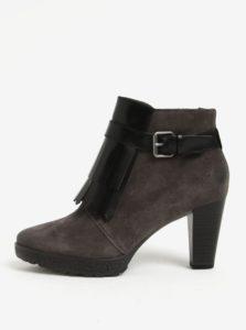 Sivé semišové členkové topánky so strapcami Tamaris
