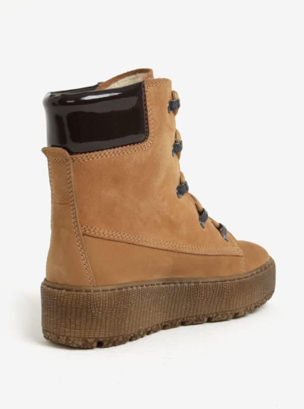 a0068c12718f Hnedé členkové kožené topánky s vlnenou podšívkou Tamaris