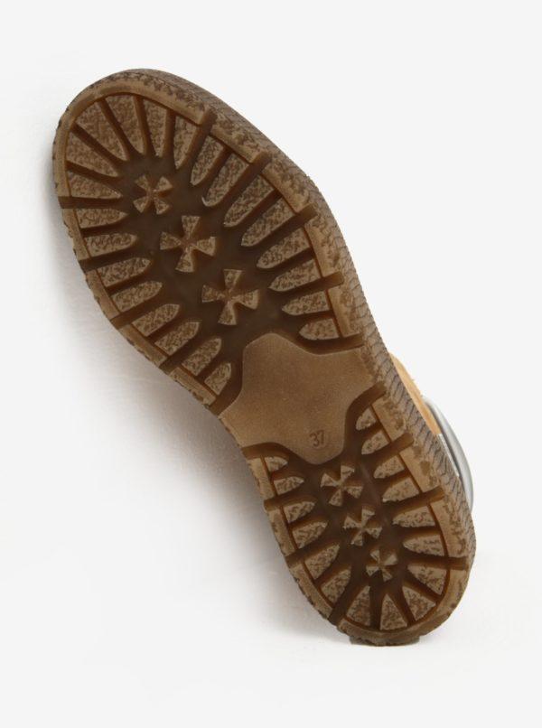 Hnedé členkové kožené topánky s vlnenou podšívkou Tamaris