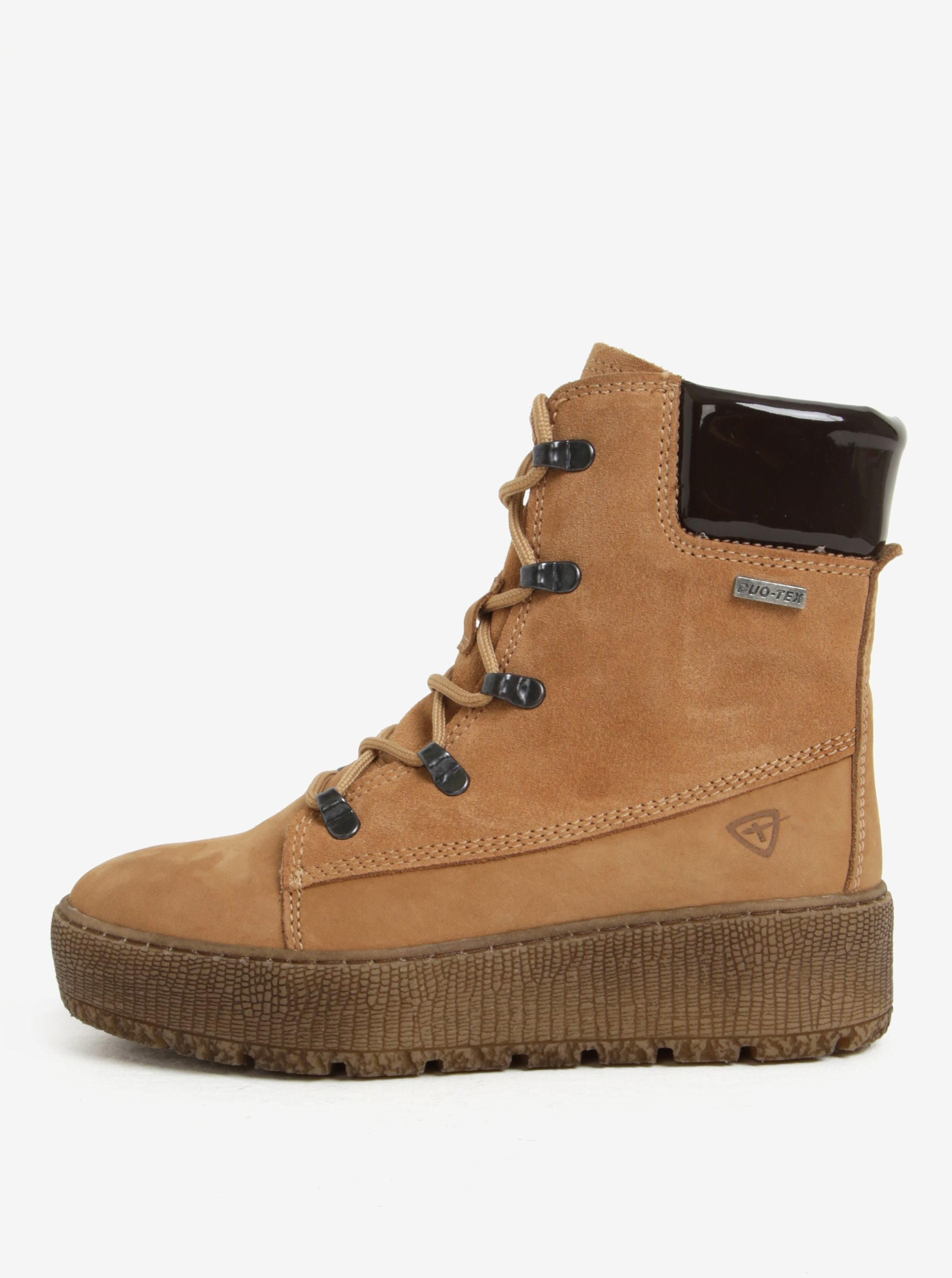 43dcc562527ff Hnedé členkové kožené topánky s vlnenou podšívkou Tamaris | Moda.sk