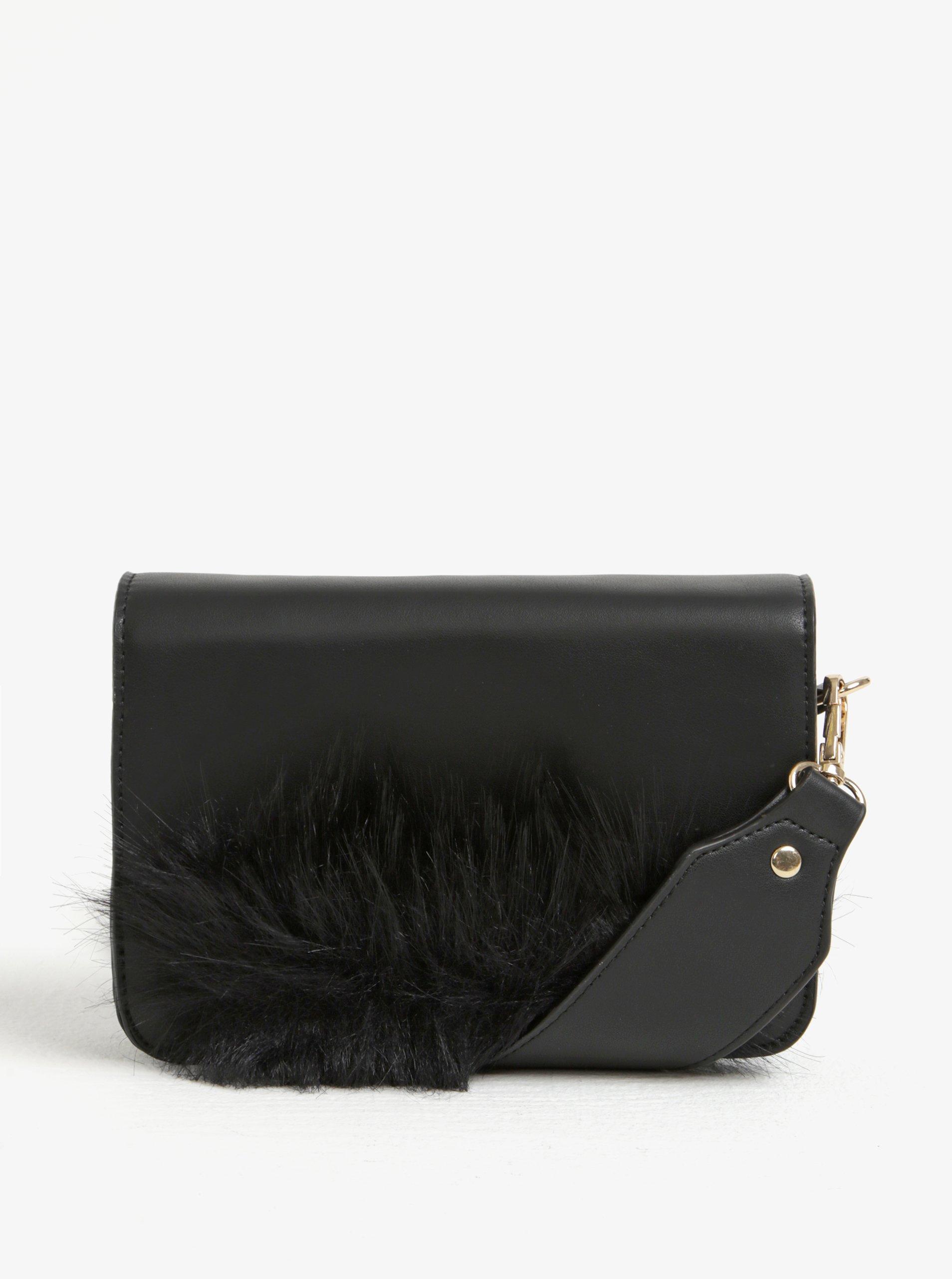 Čierna crossbody kabelka s detailom z umelej kožušiny Pieces Ake ... d253727516a