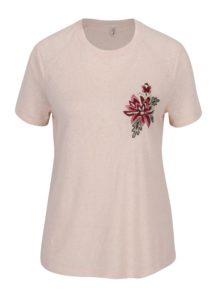Svetloružové tričko s výšivkou ONLY Helena