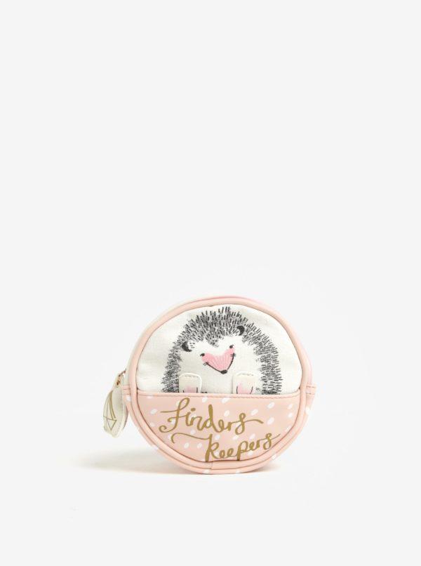 Krémovo-ružová kozmetická taštička Disaster Over the Moon Hedgehog