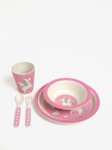 Ružová detská jedálenská súprava z eko plastu Sass & Belle