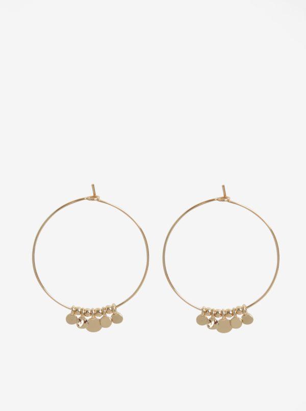 Kruhové náušnice s príveskami v zlatej farbe Pieces Valeria