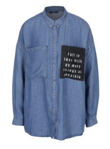 Modrá rifľová košeľa s vreckami ONLY May