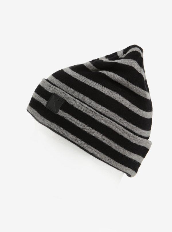 Čierna pruhovaná chlapčenská čiapka name it Mons