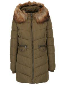 Zelený prešívaný kabát s umelou kožušinou ONLY Sanna