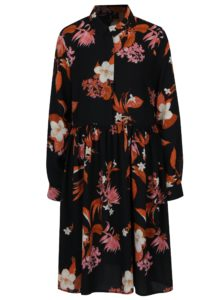 Čierne kvetované košeľové šaty VERO MODA Aya