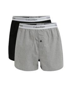 Súprava dvoch slim fit trenírok v sivej a čiernej farbe Calvin Klein Underwear