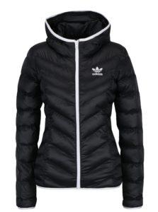 Čierna dámska prešívaná bunda s kapucňou adidas Originals Slim