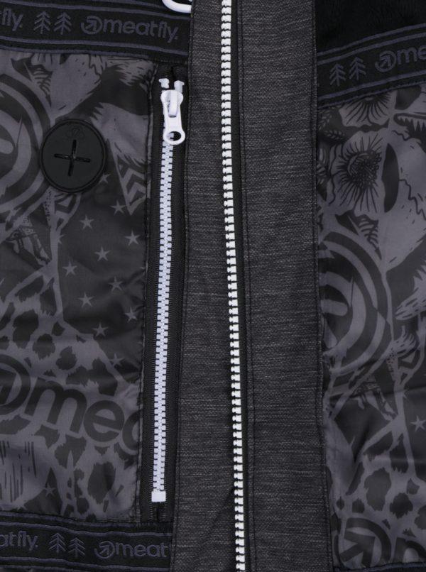 Tmavosivá melírovaná dámska zimná funkčná vodovzdorná bunda Meatfly Fluffy