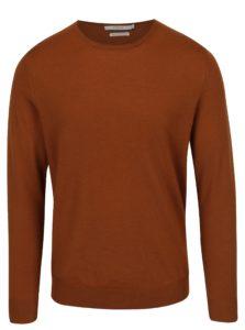 Hnedý tenký sveter z Merino vlny Jack & Jones Premium Mark
