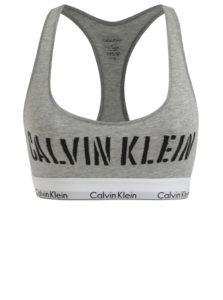 Sivá melírovaná športová podprsenka s potlačou Calvin Klein