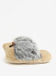 Béžovo-sivá masážna papuča v tvare ježka Something Special