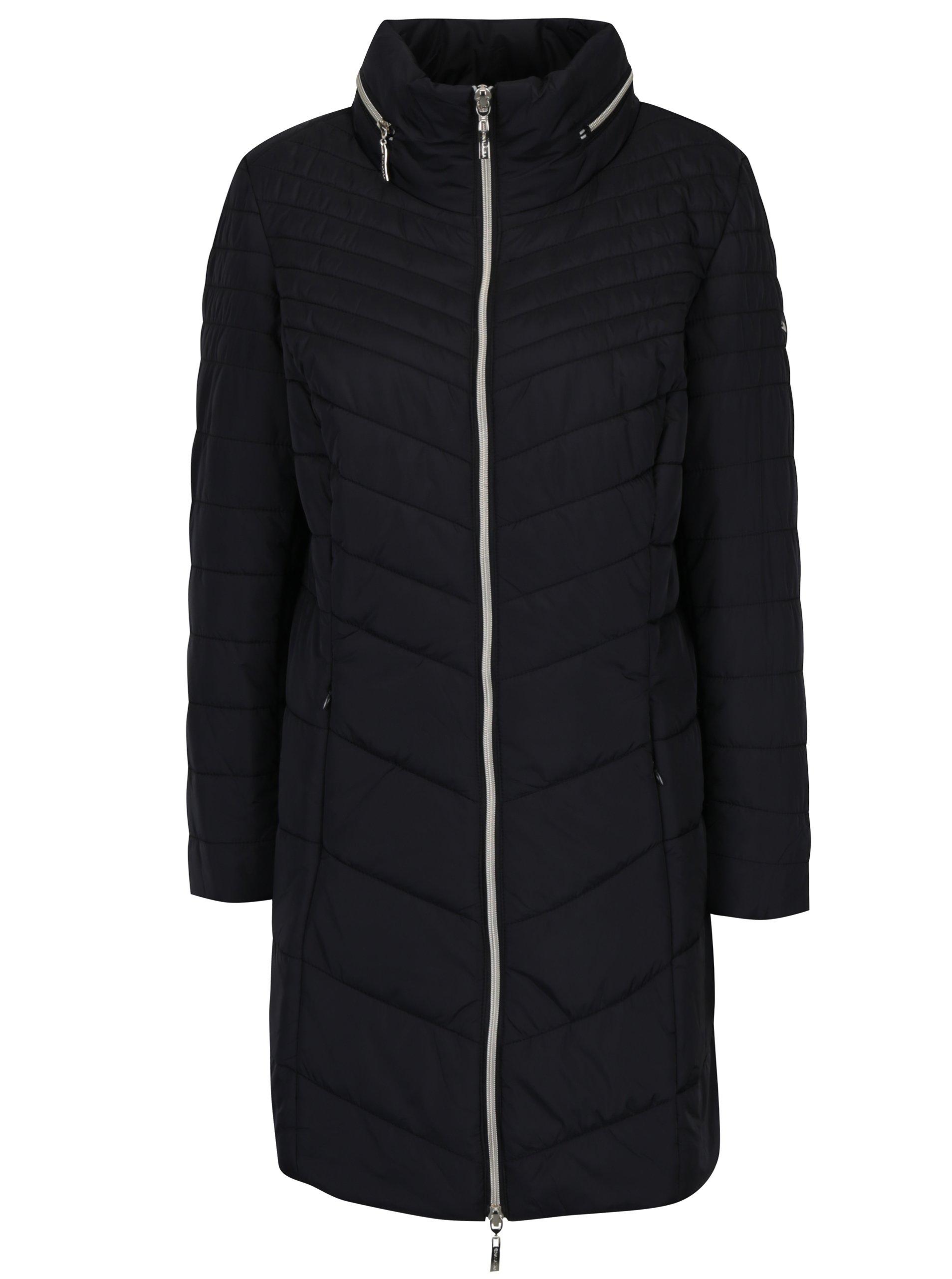 Čierny prešívaný kabát Gina Laura  f7d451351ea
