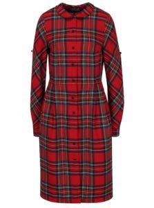 Červené kárované šaty s golierom Bohemian Tailors Carola