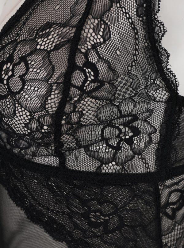 Čierne čipkované body s holým chrbtom Y.A.S Esther
