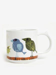 Biely hrnček s motívom vtáčej rodiny Family of Birds Coffee Mug