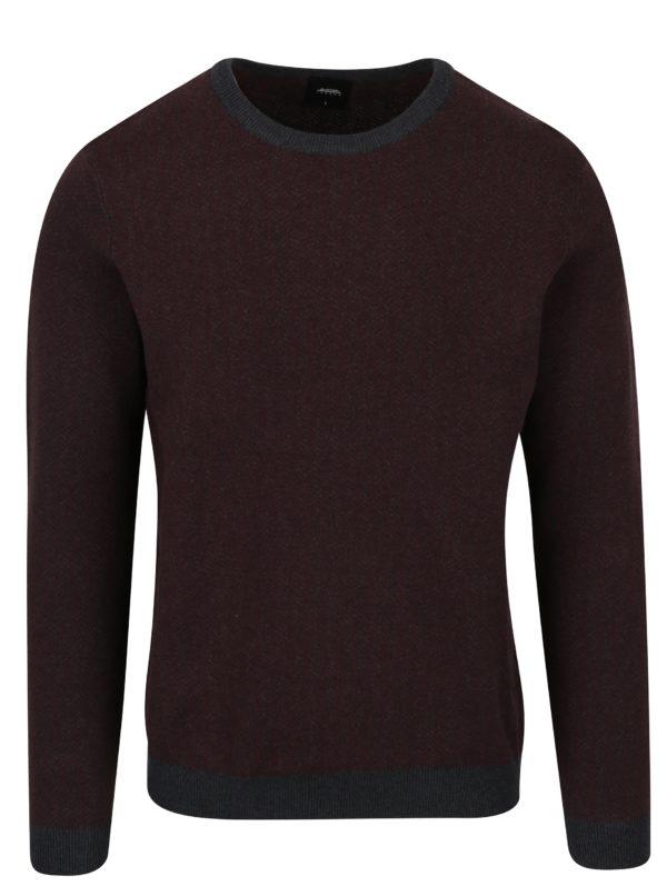 Vínový vzorovaný sveter Burton Menswear London