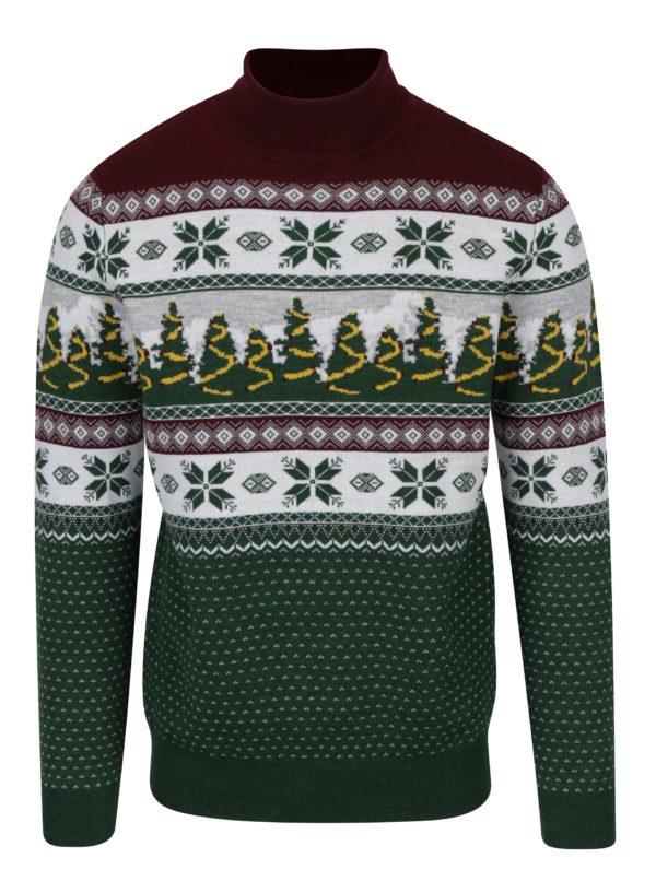 Zelený rolák s vianočným motívom Burton Menswear London