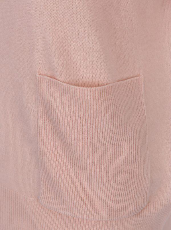 Svetloružový sveter so stojačikom a vreckami VERO MODA Sami