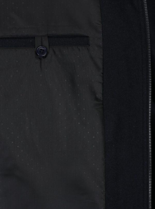 Tmavomodrá vlnená bunda s golierom z umelej kožušiny Burton Menswear London