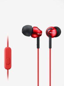 Červené in-ear slúchadlá s mikrofónom SONY