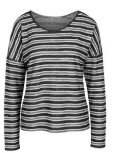 Čierne pruhované tričko s dlhým rukávom Haily´s Enni