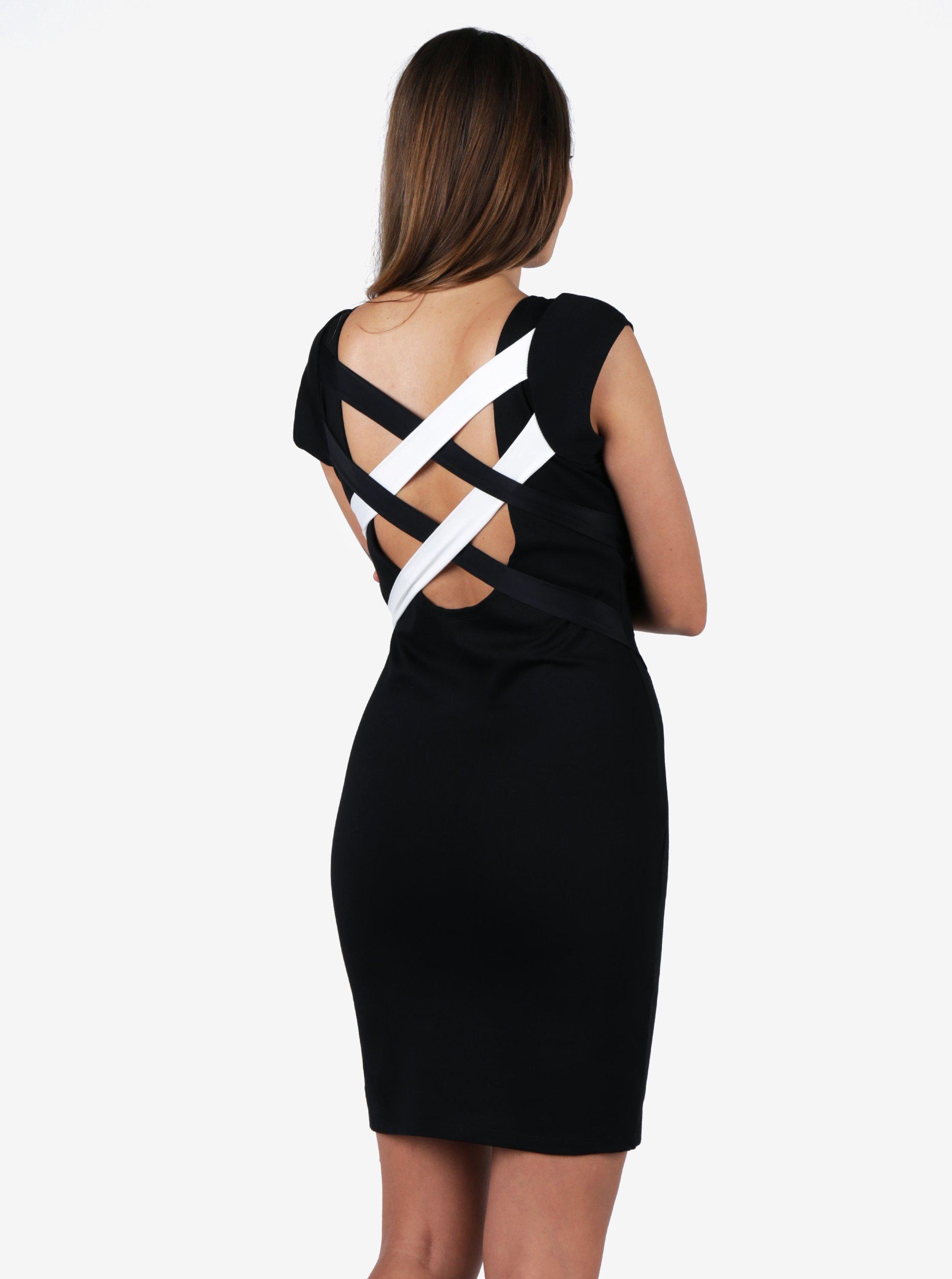 Bielo-čierne puzdrové šaty s pásikmi na chrbte ZOOT  563049a2102