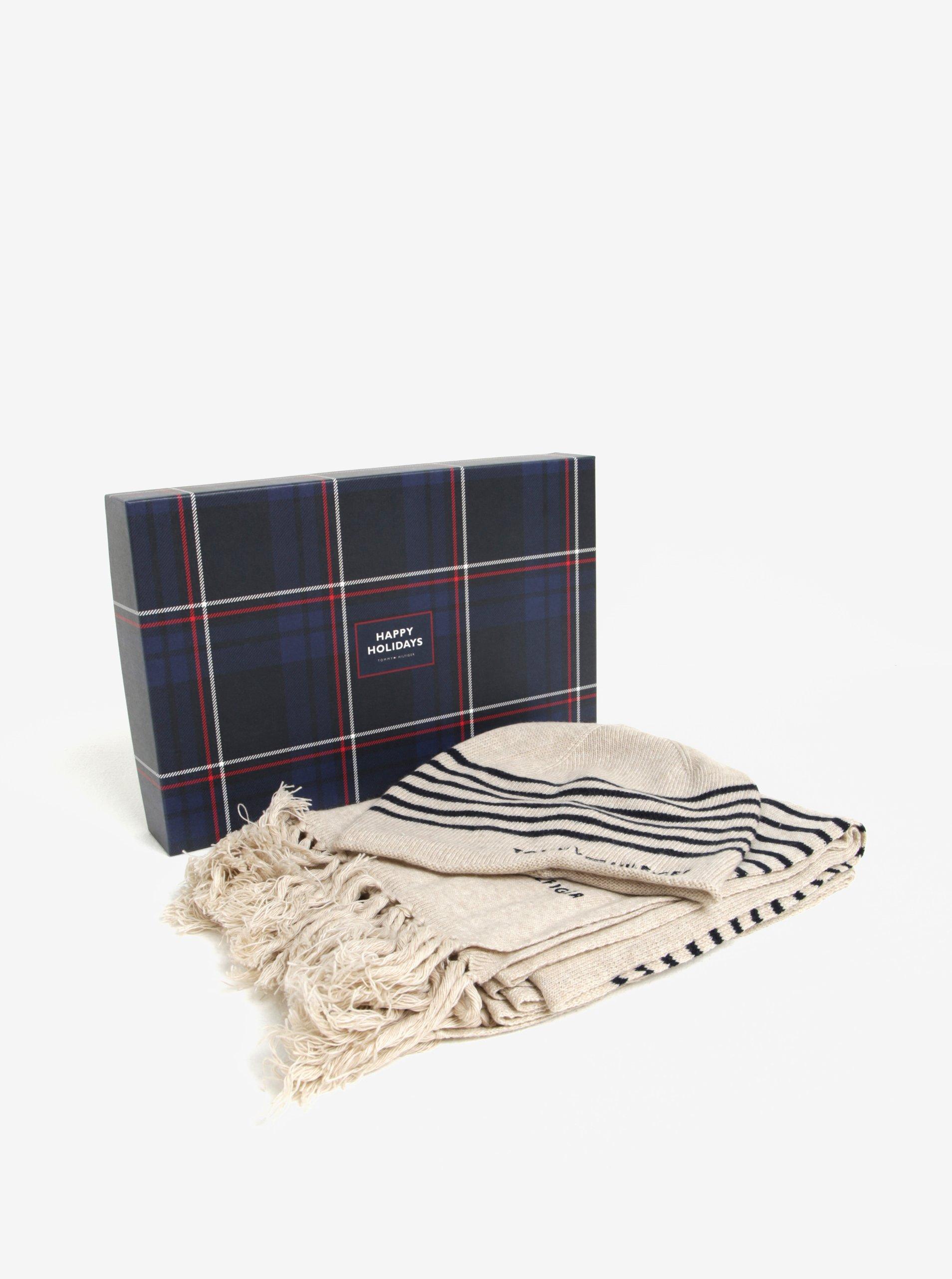 d6eafbd51 Súprava dámskej vlnenej čiapky a šálu v béžovej farbe v darčekovej škatuľke  Tommy Hilfiger