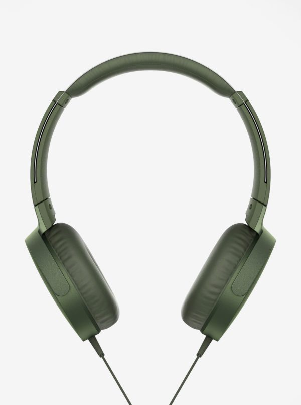 Tmavozelené slúchadlá s mikrofónom SONY Extra Bass