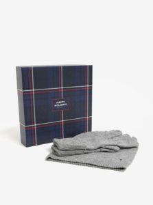 Súprava dámskej čiapky a rukavíc v sivej farbe v darčekovej škatuľke Tommy Hilfiger