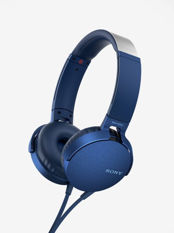 Modré slúchadlá s mikrofónom SONY Extra Bass