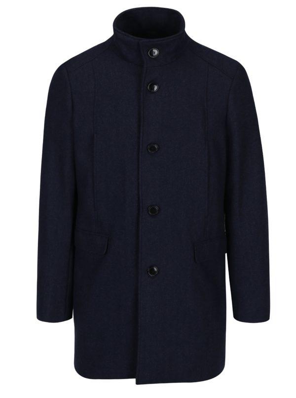 Tmavomodrý kabát s prímesou vlny Selected Homme Mosto