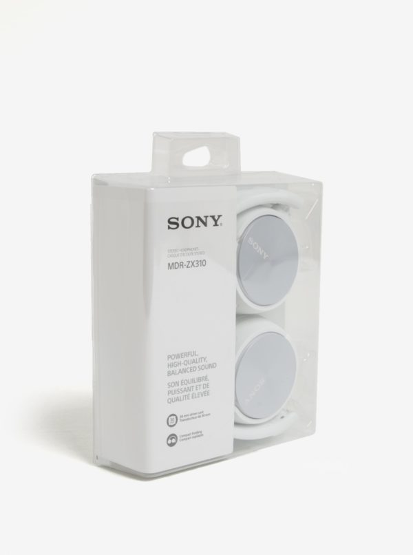 Biele skladacie slúchadlá SONY