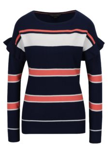 Koralovo-modrý pruhovaný sveter s volánmi Dorothy Perkins