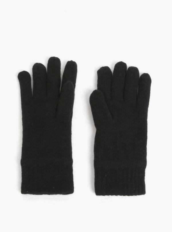 Čierne pánske vlnené rukavice GANT