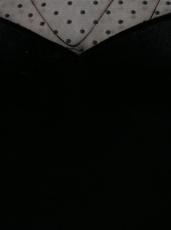 Čierny zamatový top s priesvitnými bodkovanými rukávmi a dekoltom Dorothy Perkins