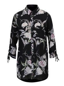 Čierna priesvitná kvetovaná blúzka Dorothy Perkins
