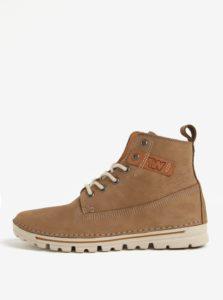 Hnedé dámske kožené členkové topánky Weinbrenner
