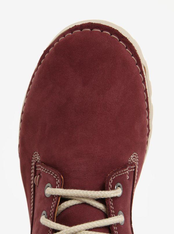 Vínové dámske kožené členkové topánky Weibrenner